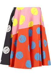Vivetta Adele Printed Stretch Cotton Twill Skirt Red