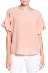 Gibson Women's Ruffle Sleeve Top Peach