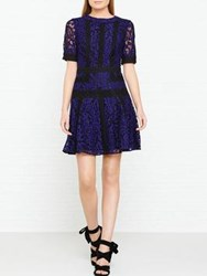 Karen Millen Cold Shoulder Lace Dress Blue