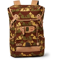 Master Piece Nowartt Leather Trimmed Printed Canvas Backpack Green