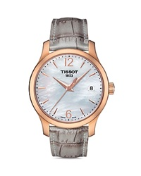 Tissot Tradition Lady Rose Gold Quartz Watch 33Mm White Gray