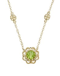 Lord And Taylor Peridot Diamond 14K Yellow Gold Pendant Necklace Green