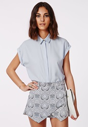 Missguided Short Sleeve Shirt Baby Blue