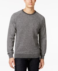 Ryan Seacrest Distinction Honeycomb Raglan Crew Sweater Only At Macy's Black Marl