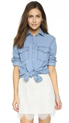 Cupcakes And Cashmere Golden State Button Up Blouse Blue