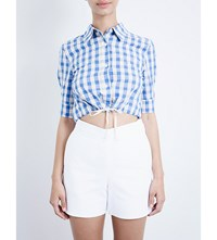 Solid And Striped The Woven Cotton And Linen Blend Cropped Top Blue Gingham