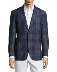 Ike Behar Plaid Sport Coat Blue Purple Regular Length Blue Purple Plaid