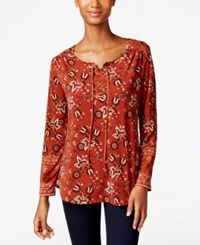 Styleandco. Style Co. Lace Up Peasant Top Only At Macy's Batik Bloom
