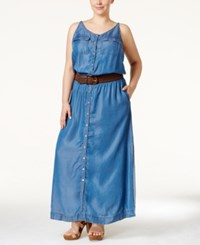 Inc International Concepts Plus Size Denim Belted Maxi Dress Only At Macy's