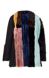 Jo No Fui Intarsia Beaver Fur And Wool Fur Overcoat Black