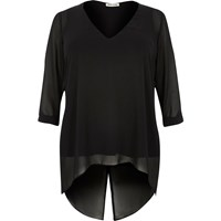 River Island Womens Ri Plus Black Chiffon Tunic Top