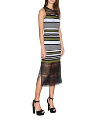 Cynthia Rowley Stripe And Lace Midi Dress Black Multi