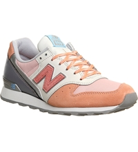 New Balance 996 Suede And Textile Trainers Pink White Silver