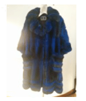 Helen Yarmak Dyed Chinchilla Coat With Nothed Collar. 3 4Sleeves. Hy Exclusive 100 Silk Lining. Fur Origin South America Blue