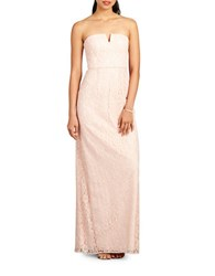 Donna Morgan Strapless Slit Neck Sheath Gown Pearl Pink