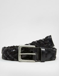 Asos Leather And Woven Plaited Belt Black