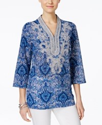 Charter Club Paisley Print Embroidered Tunic Only At Macy's Blazing Blue