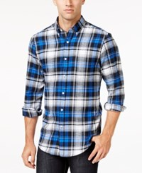 John Ashford Men's Long Sleeve Plaid Shirt Only At Macy's City Blue