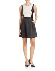 Rachel Roy Pucker Knit Fit And Flare Dress White Black