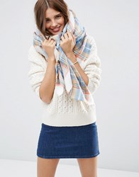 Asos Oversized Square Scarf In Natural Check White
