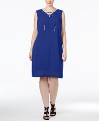 Inc International Concepts Plus Size Lace Up Shift Dress Only At Macy's Goddess Blue