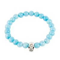 Latelita London Skull Bracelet Sterling Silver Light Blue Chalcedony Blue Silver