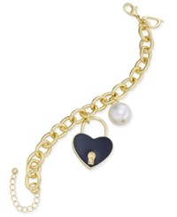 Thalia Sodi Gold Tone Imitation Pearl Enamel Heart Charm Bracelet Only At Macy's Black