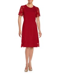 Elie Tahari Lace Trimmed Fit And Flare Dress Poppy Red