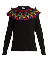 Stella Jean Pompom Embellished Wool And Cashmere Blend Sweater Black Multi