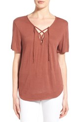 Hinge Women's Lace Up Tee Brown Mahogany