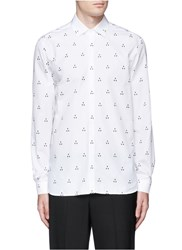 Neil Barrett Batik Motif Cotton Poplin Shirt White