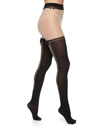 Alice Olivia Lace Up Bow Detailed Tights Black Nude