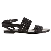 Jigsaw Lucile Leather Flat Sandals Black