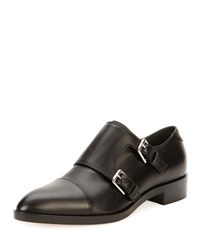 Gianvito Rossi Leather Monk Strap Loafer Black