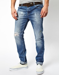 Asos Slim Jeans With Rips Blue