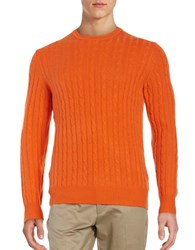 Black Brown Cashmere Cable Knit Sweater Tangerine