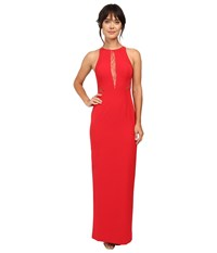 Aidan Mattox Crepe Gown W Lace Back And Lace Insets Red Women's Dress