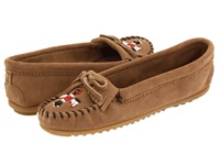 Minnetonka Thunderbird Ii Taupe Suede Women's Moccasin Shoes
