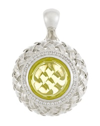 Slane Diamond Pave Lemon Citrine Basket Weave Pendant