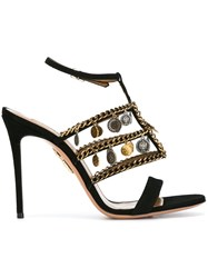 Aquazzura Embellished T Strap Sandals Black