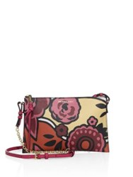 Burberry Peyton Floral Print Leather Clutch Vibrant Orange