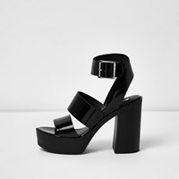 River Island Womens Black Patent Thick Strappy Platform Heels