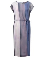 Jigsaw Water Stripe Ruched Silk Dress Sugared Violet