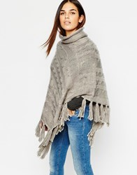 Warehouse Cable Knit Poncho With Tassel Hem Lightgrey