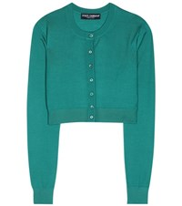 Dolce And Gabbana Cropped Cashmere Cardigan Green