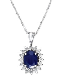 Effy Collection Royalty Inspired By Effy Sapphire 1 9 10 Ct. T.W. And Diamond 3 8 Ct. T.W. Oval Pendant In 14K White Gold