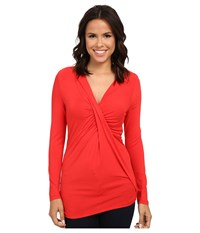 Adrianna Papell V Neck Long Sleeve Top Gathered At Chest Cayenne Women's Long Sleeve Pullover