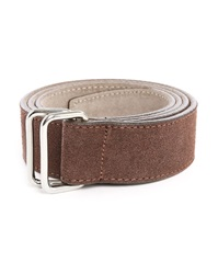 M.Studio Grey And Taupe Kronos Suede Reversible Belt