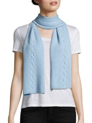 Portolano Cable Knit Cashmere Scarf Baby Blue Light Heather Grey Black Light Nile Brow