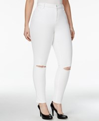 Nanette By Nanette Lepore Plus Size Caitlyn Ripped Cropped Optic Wash Jeans Only At Macy's